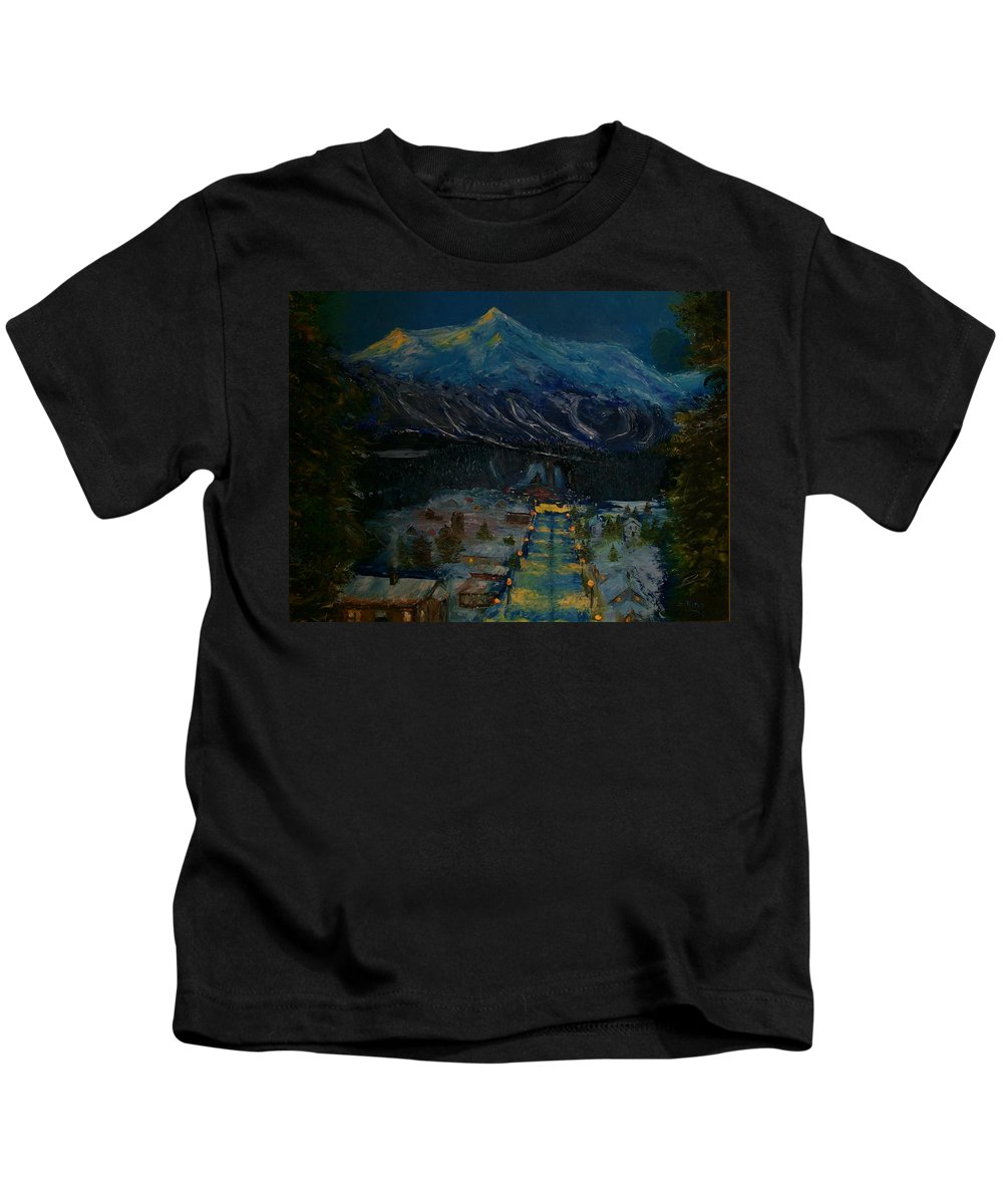 Winter Kids T-Shirt featuring the painting Ski Resort by Stephen King