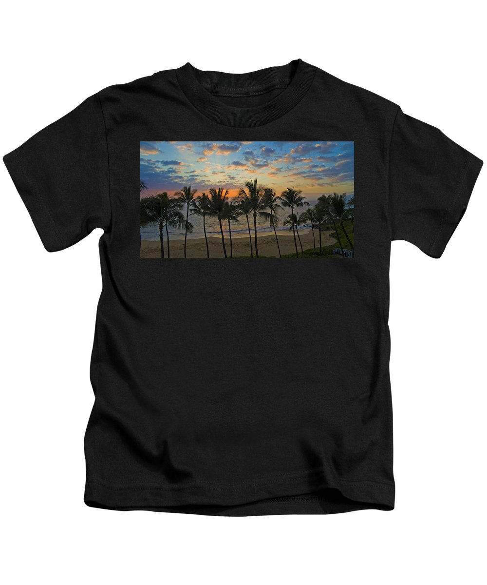 Aerial Tropics Maui Hawaii Grand Wailea Palmtrees Sunset Clouds Kids T-Shirt featuring the photograph Skyview by James Roemmling