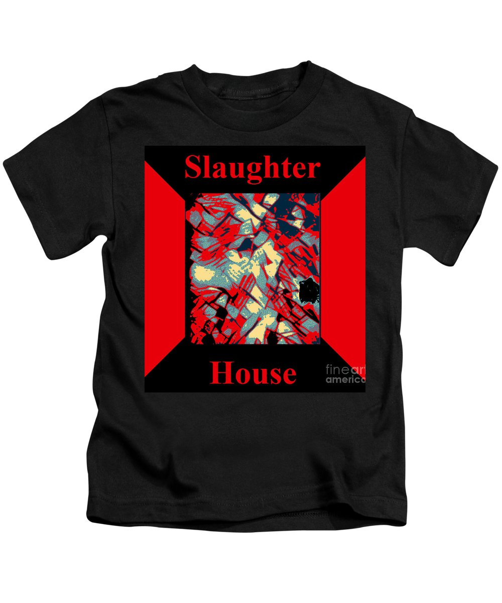 Humour Kids T-Shirt featuring the digital art Slaughterhouse No. I by Geordie Gardiner