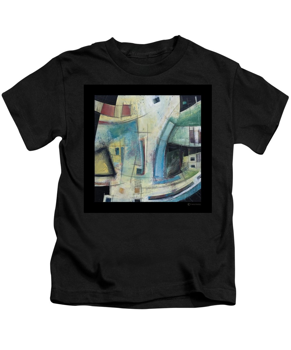 Abstract Kids T-Shirt featuring the painting Small Town Blues by Tim Nyberg