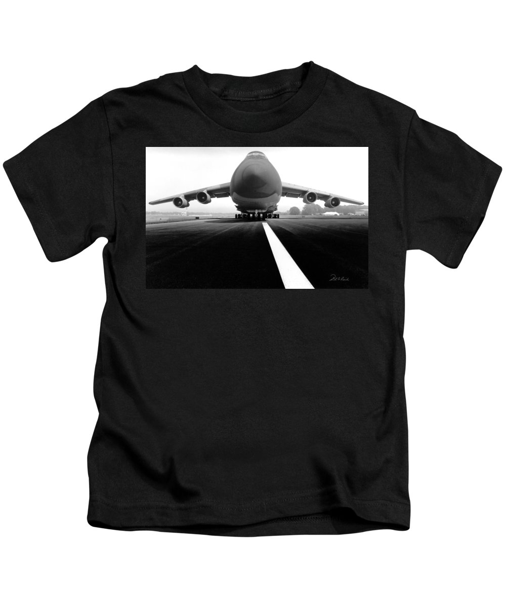 Black & White Kids T-Shirt featuring the photograph Smiling C Five Galaxy by Frederic A Reinecke