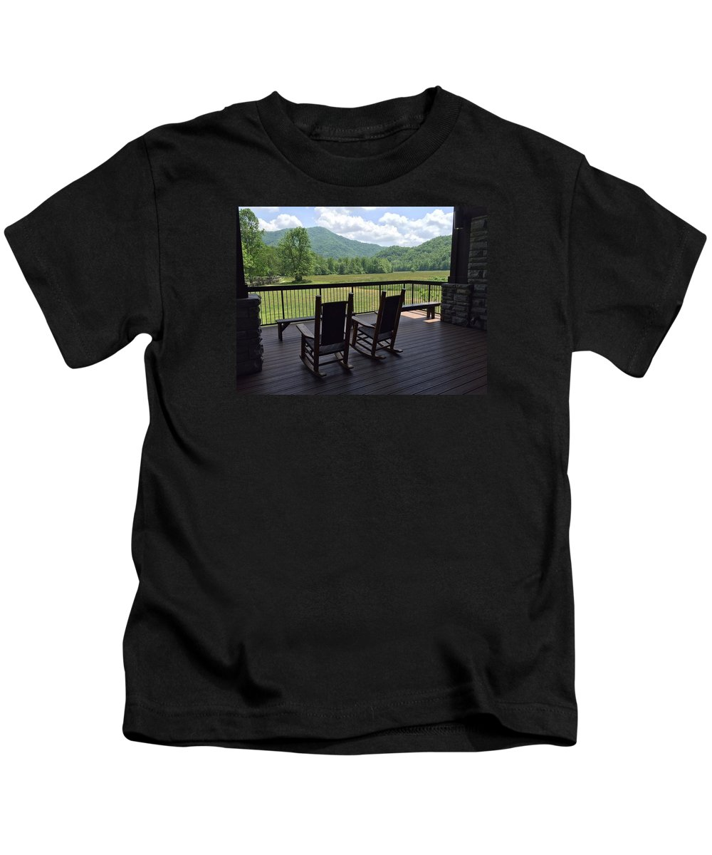 Smokeys Porch Rocking Chair Mountain Landscape Kids T-Shirt featuring the photograph Smokey Mountain Serenity by Anne Sands