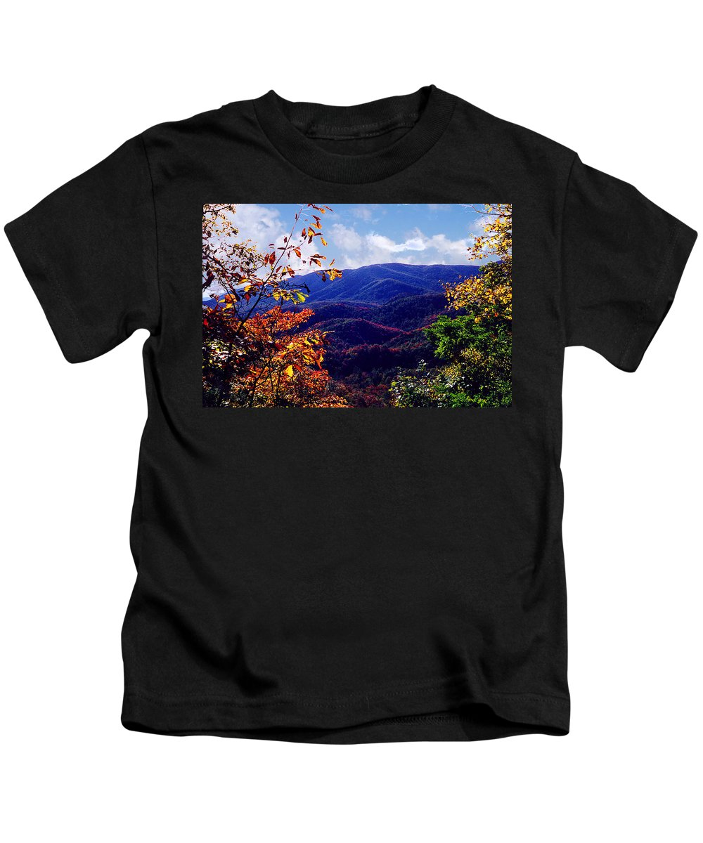 Mountain Kids T-Shirt featuring the photograph Smoky Mountain Autumn View by Nancy Mueller