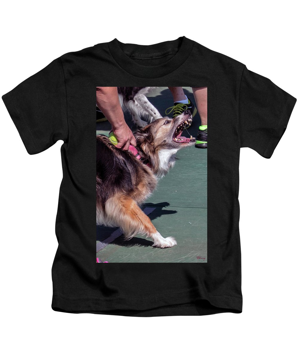 Dog Kids T-Shirt featuring the photograph Snarl by Brian Kenney
