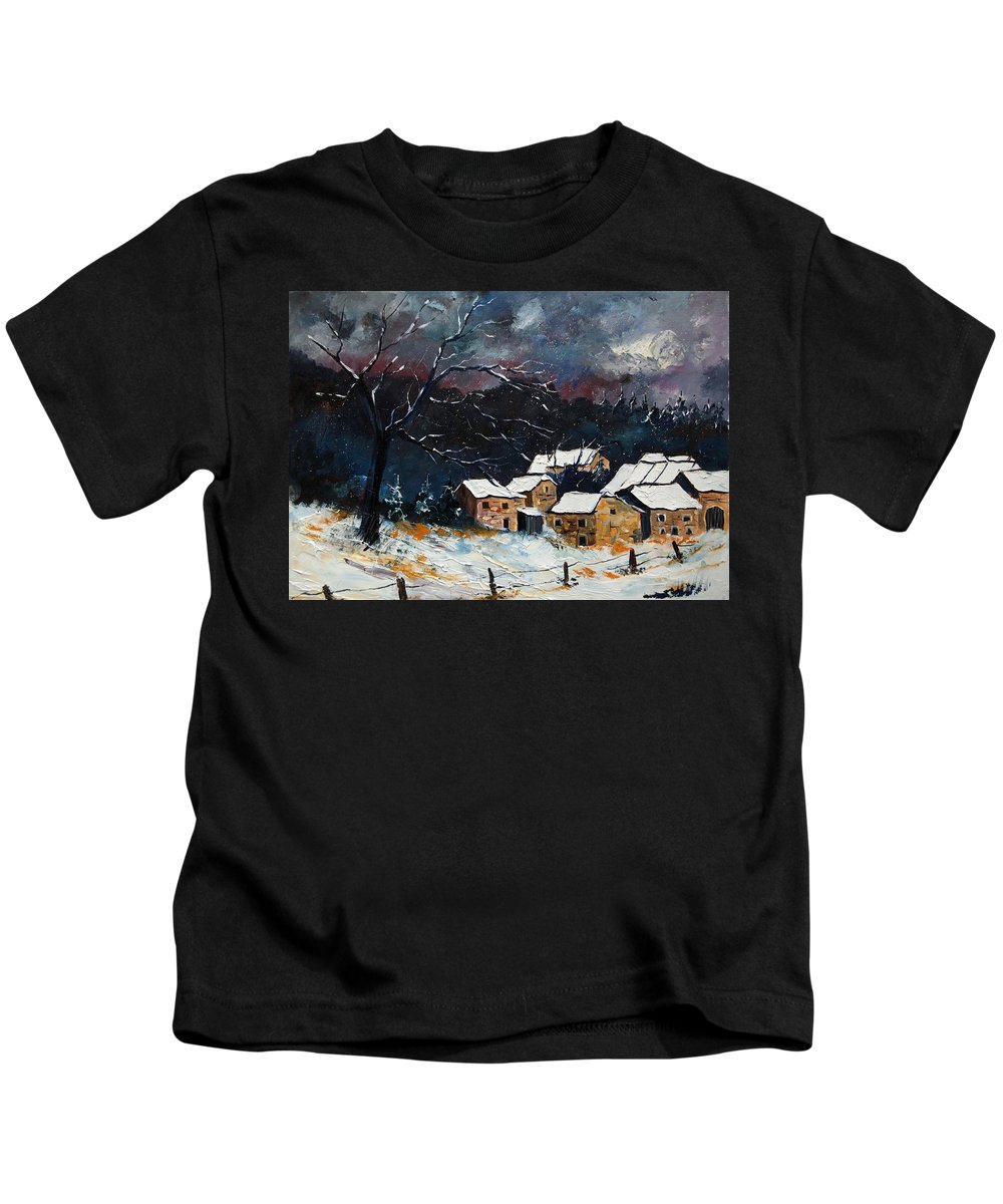 Snow Kids T-Shirt featuring the painting Snow 57 by Pol Ledent