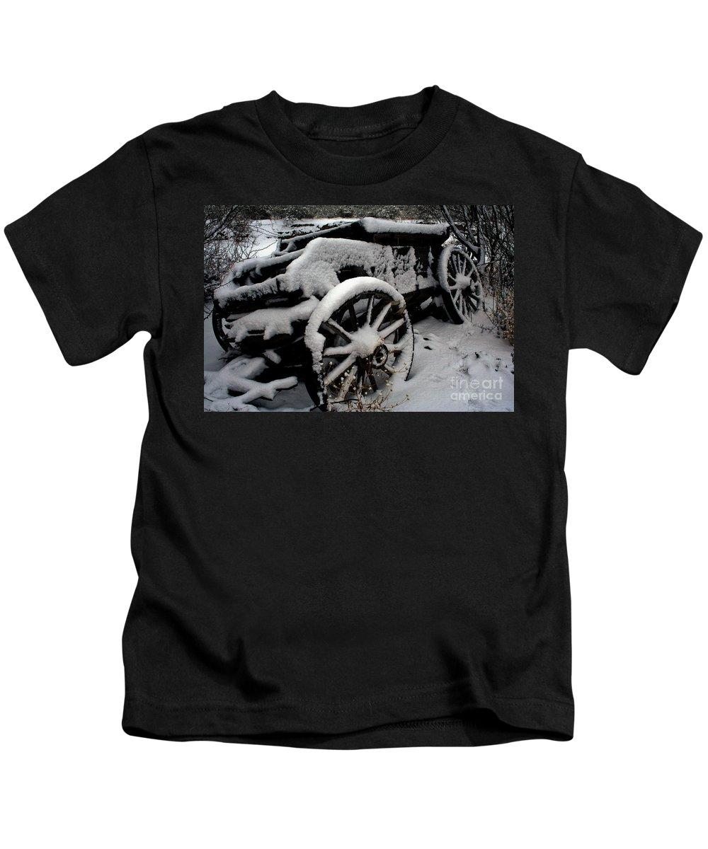 Las Cruces Kids T-Shirt featuring the photograph Snow Wagon by Jennifer Sensiba