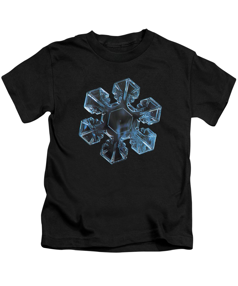 Snowflake Kids T-Shirt featuring the photograph Snowflake Photo - The Core by Alexey Kljatov
