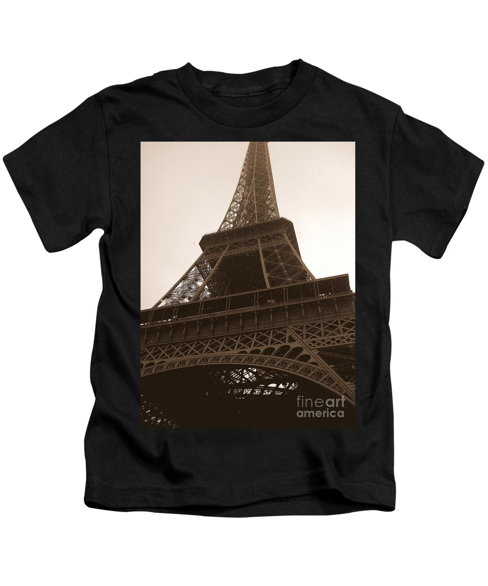 Paris Kids T-Shirt featuring the photograph Snowing On The Eiffel Tower by Carol Groenen