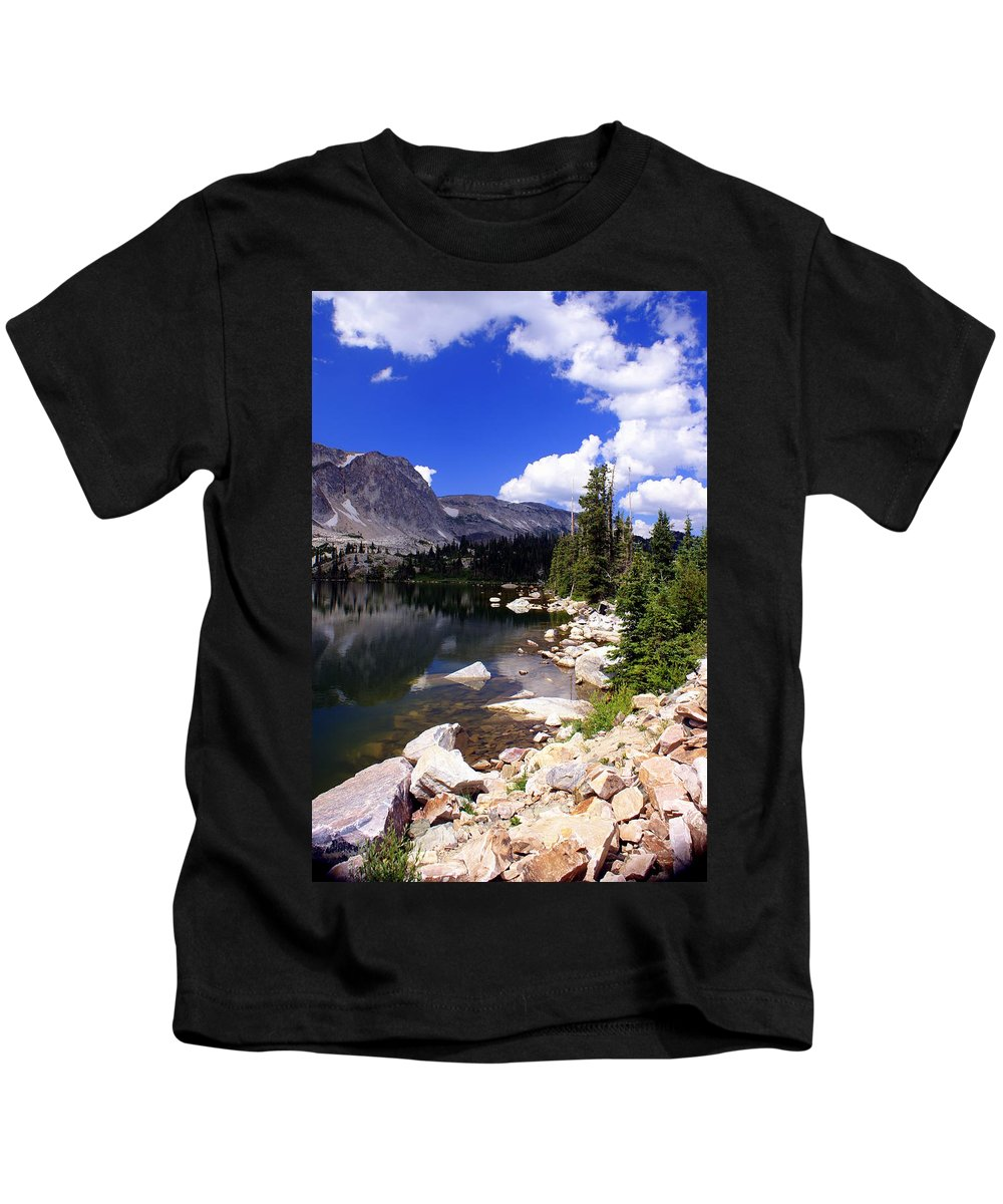 Snowy Mountains Kids T-Shirt featuring the photograph Snowy Mountain Lake by Marty Koch