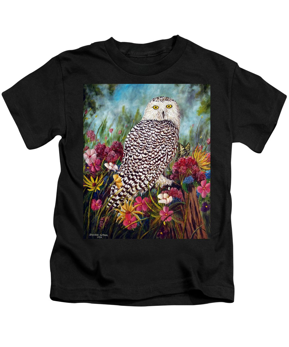 Owl Kids T-Shirt featuring the painting Snowy Owl by David G Paul