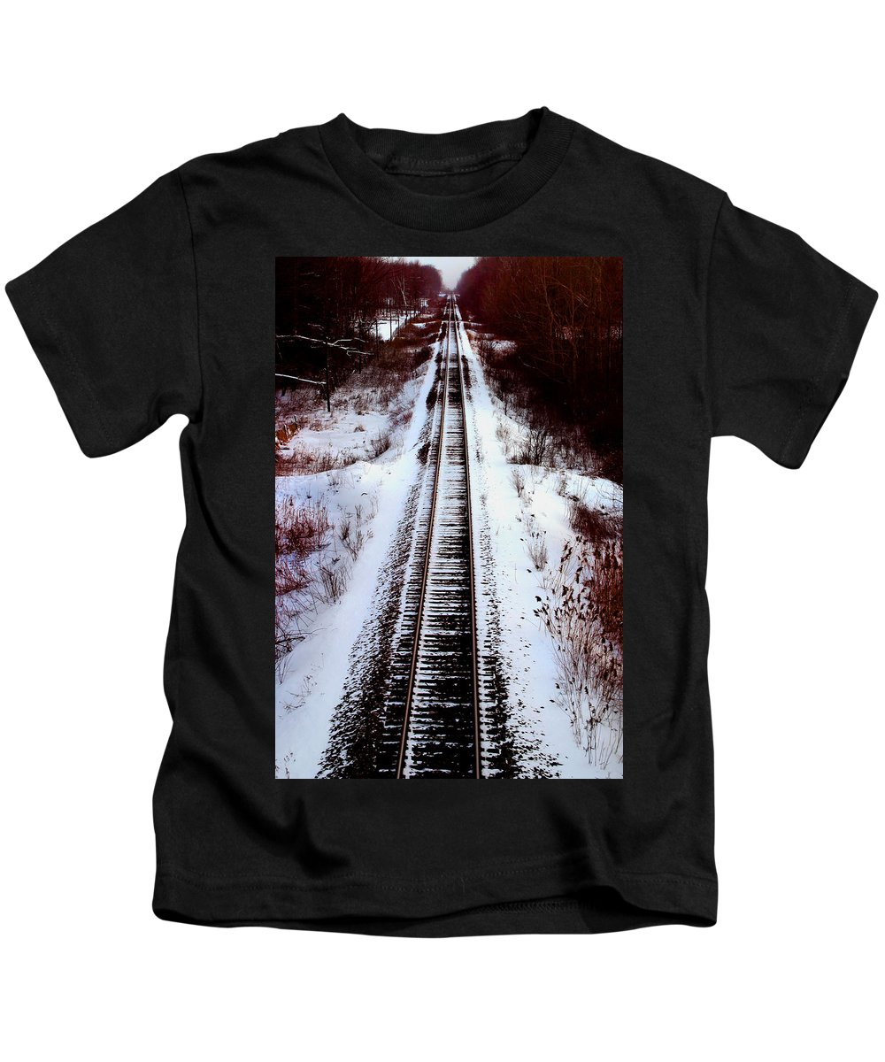 Train Tracks Kids T-Shirt featuring the photograph Snowy Train Tracks by Anthony Jones