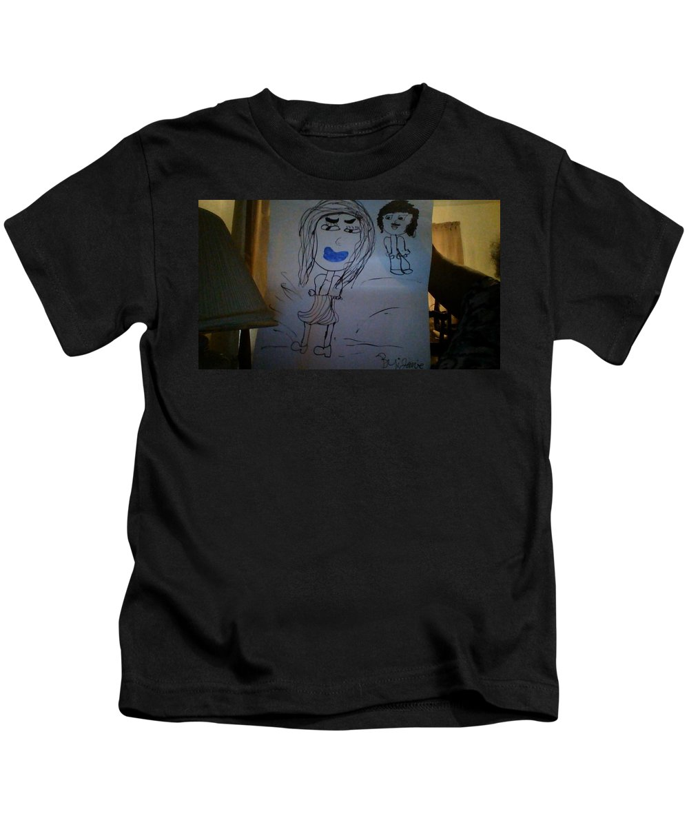 Kids T-Shirt featuring the drawing Soal Brother And Sister by Jamie Warren