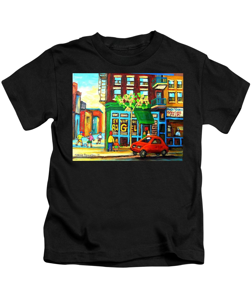 St Viateur Bagel Shop Montreal Street Scenes Kids T-Shirt featuring the painting Soccer Game At The Bagel Shop by Carole Spandau