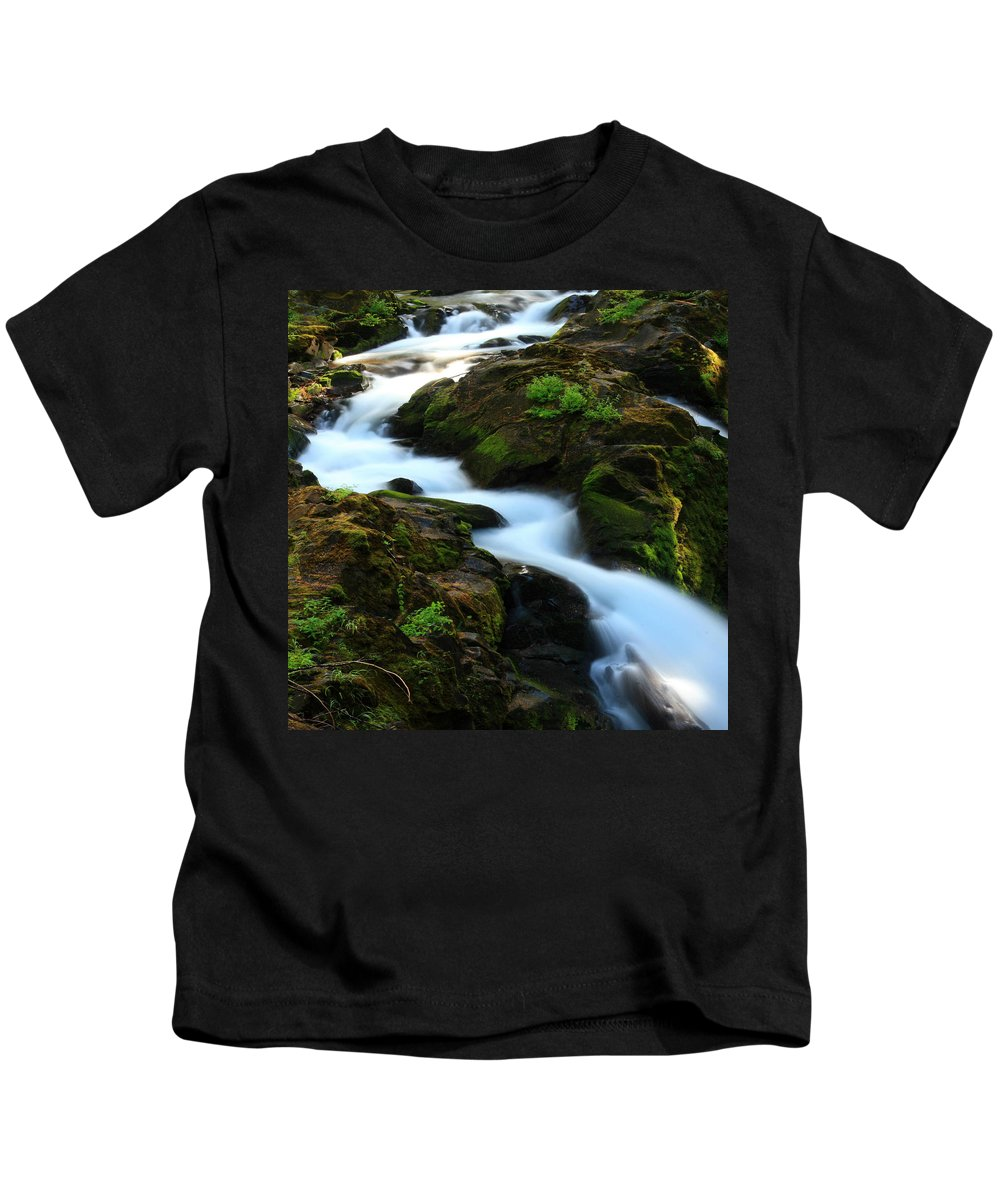 Columbia Gorge Kids T-Shirt featuring the photograph Sol Duc Falls 2 by Ingrid Smith-Johnsen
