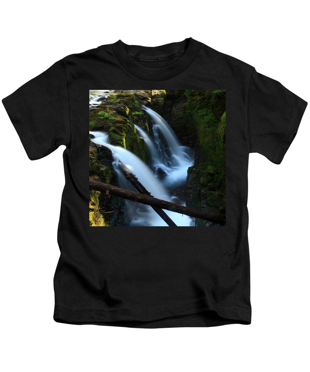 Columbia Gorge Kids T-Shirt featuring the photograph Sol Duc Falls 3 by Ingrid Smith-Johnsen