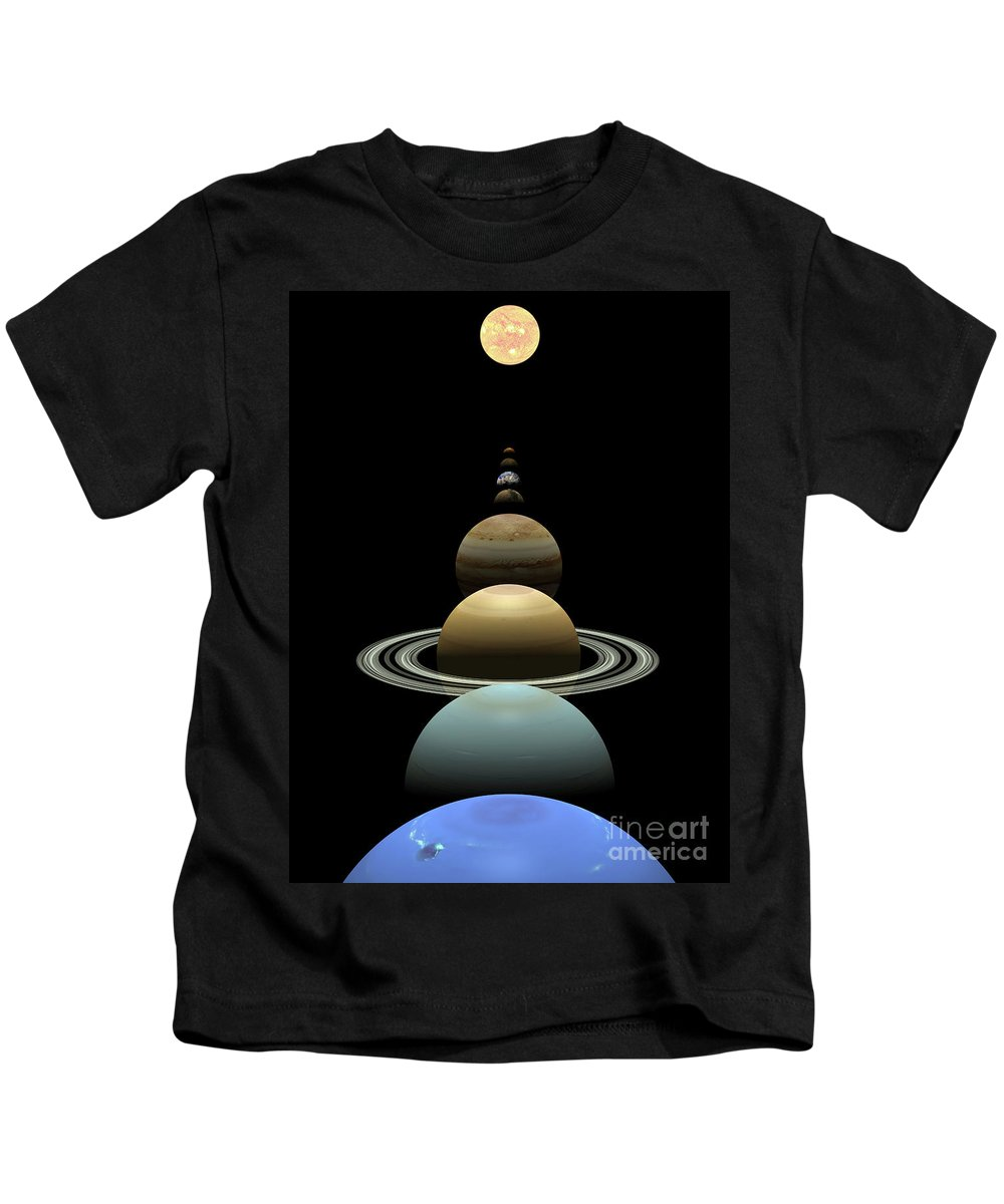 Earth Kids T-Shirt featuring the digital art Solar System Planets In Alignment Around Sun by Nicholas Burningham