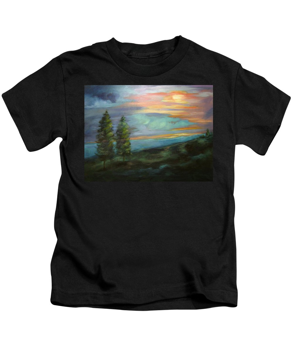Landscape Kids T-Shirt featuring the painting Soledad by Ginger Concepcion
