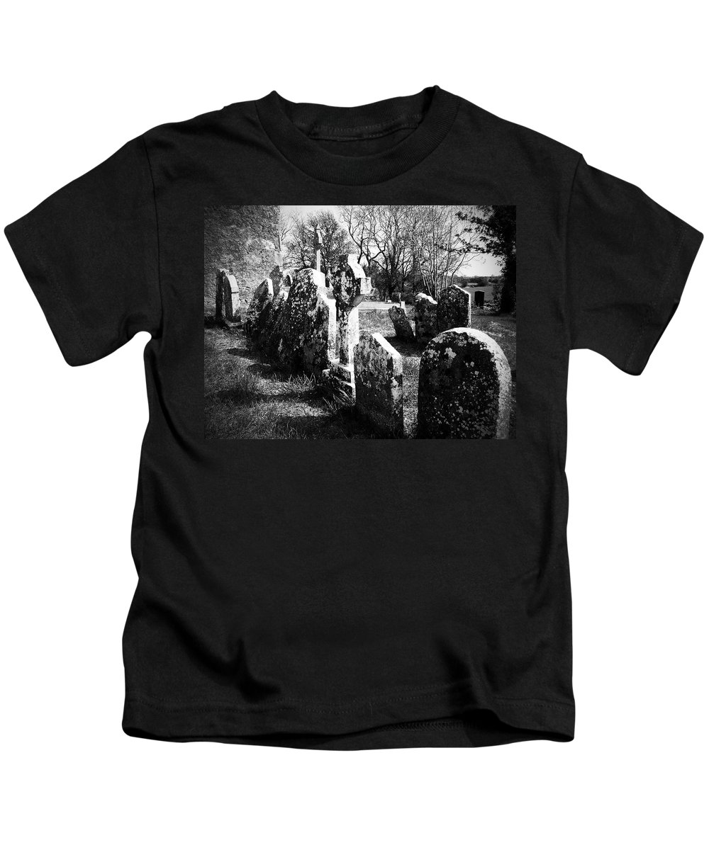 Ireland Kids T-Shirt featuring the photograph Solitary Cross At Fuerty Cemetery Roscommon Irenand by Teresa Mucha