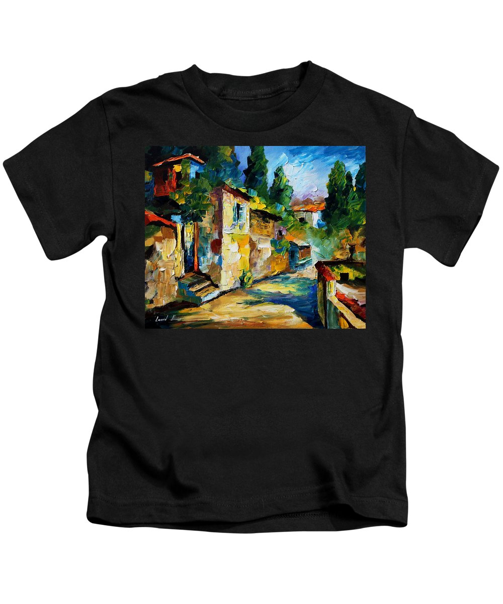City Kids T-Shirt featuring the painting somewhere in Israel by Leonid Afremov
