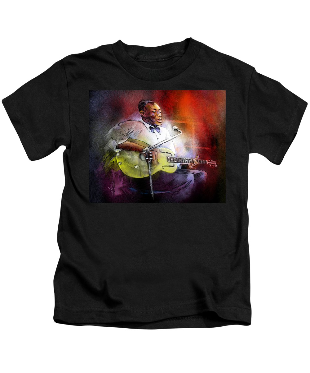 Music Kids T-Shirt featuring the painting Son House by Miki De Goodaboom