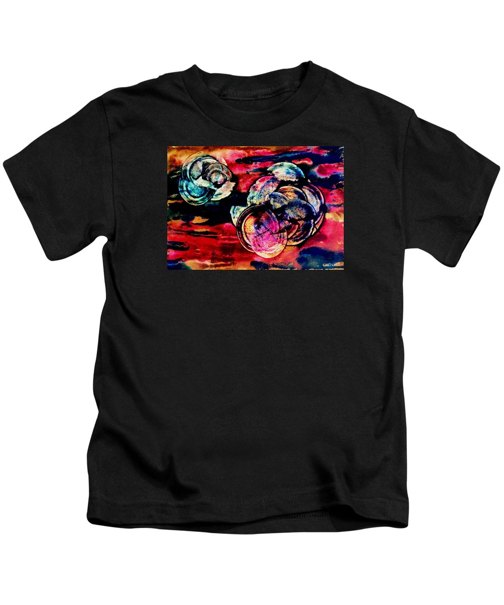 Abstract Kids T-Shirt featuring the painting Song Of Space by Louise Adams