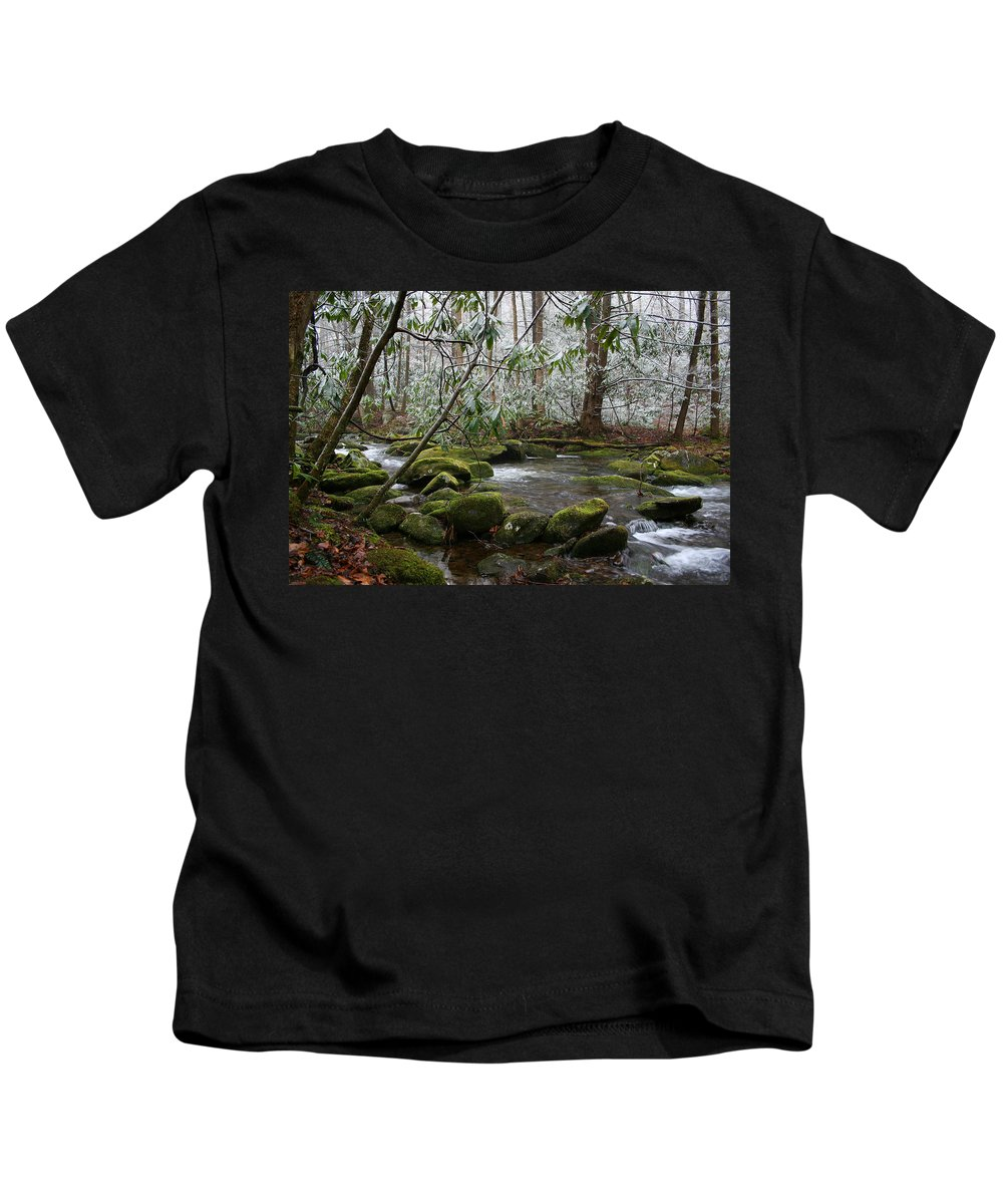 River Stream Creek Water Nature Rock Rocks Tree Trees Winter Snow Peaceful White Green Flowing Flow Kids T-Shirt featuring the photograph Soothing by Andrei Shliakhau