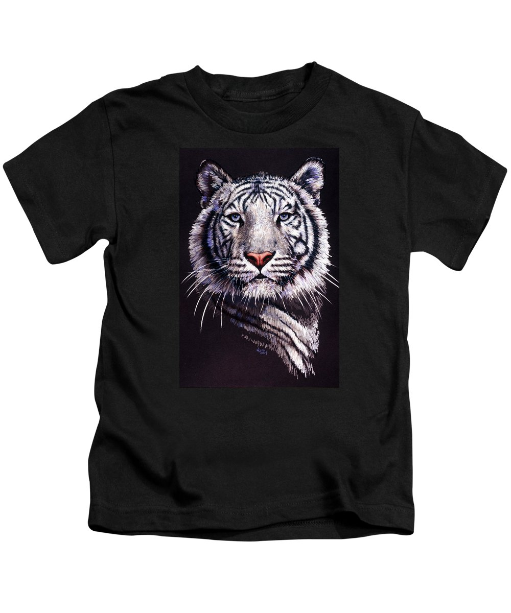 Tiger Kids T-Shirt featuring the drawing Sorcerer by Barbara Keith