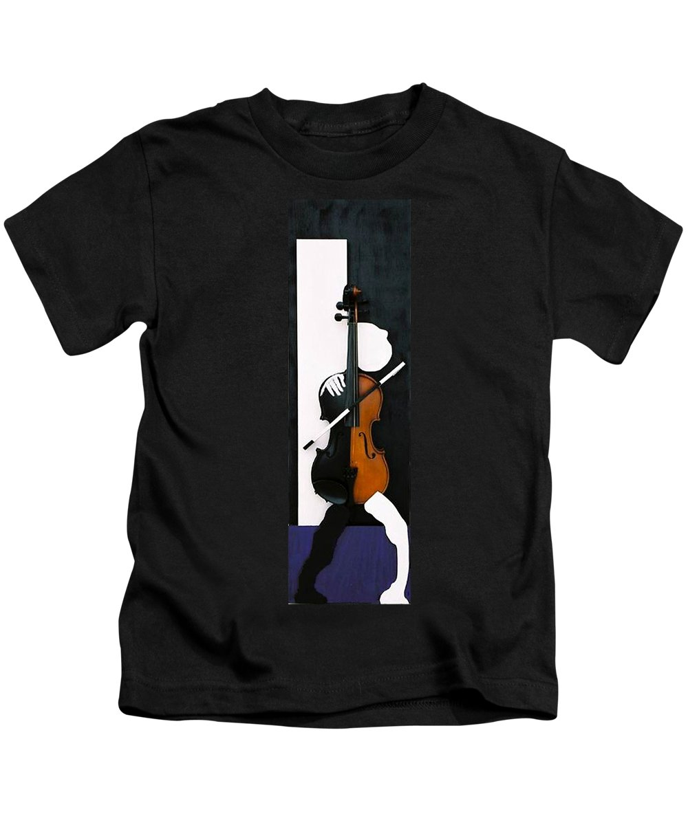 Violin Kids T-Shirt featuring the sculpture Soul Of Music by Steve Karol