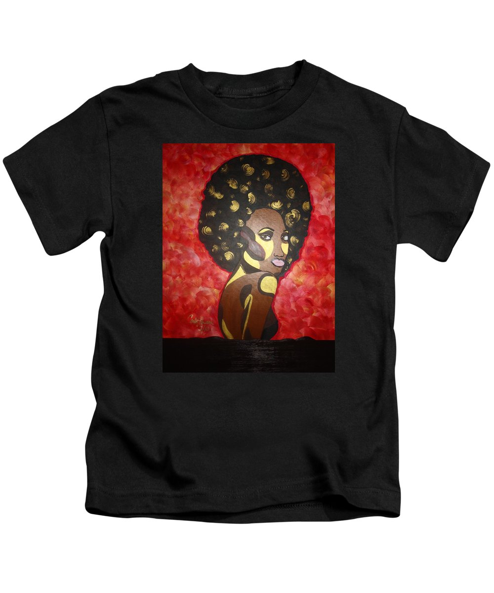 Afro Kids T-Shirt featuring the painting Soul Sista Number Five by Carla J Lawson