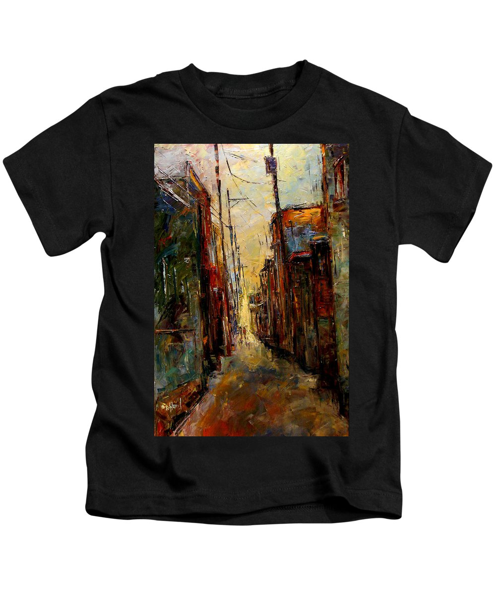 Alley Kids T-Shirt featuring the painting Sounds In The Alley by Debra Hurd