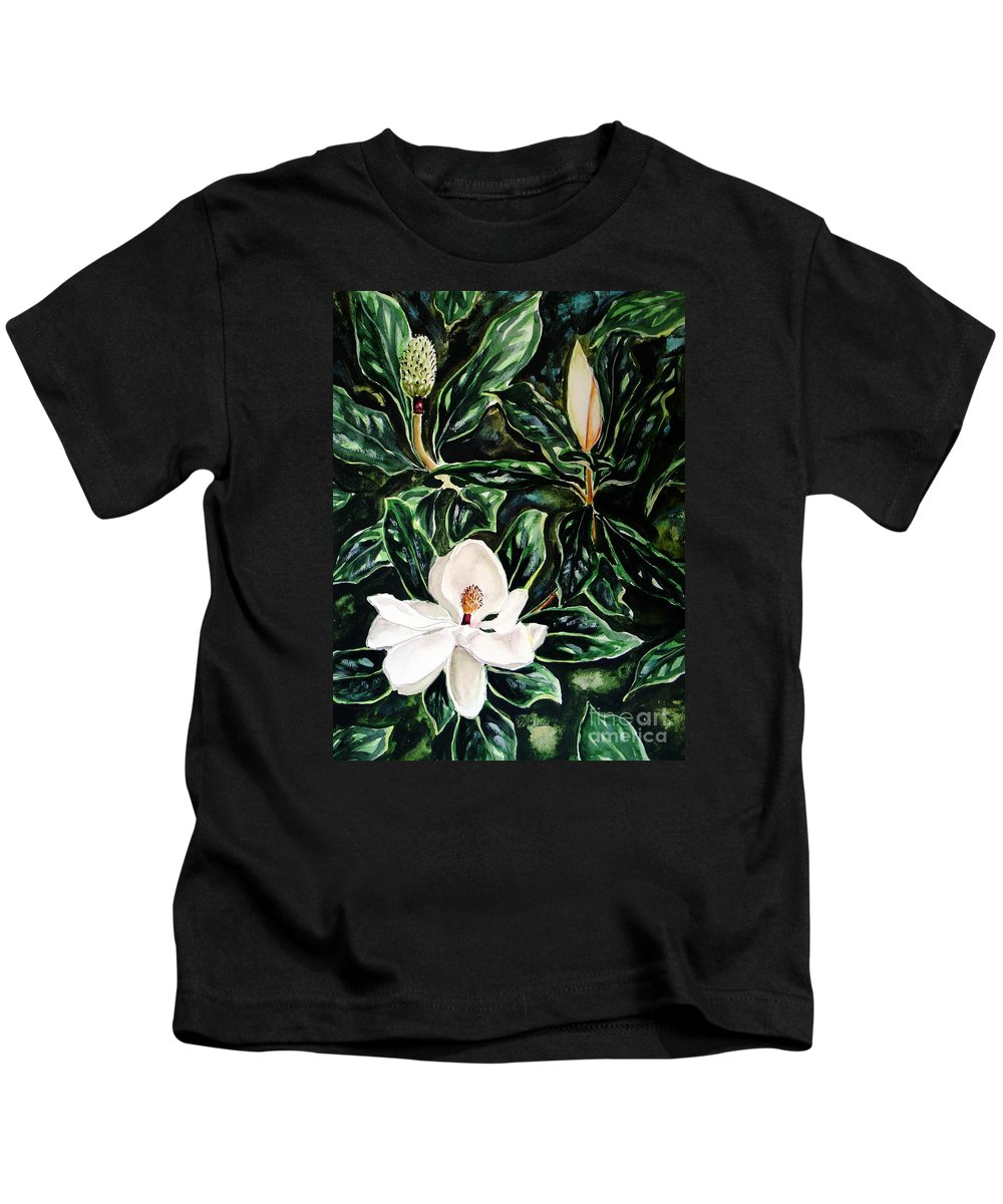 Flower Kids T-Shirt featuring the painting Southern Magnolia Bud And Bloom by Patricia L Davidson
