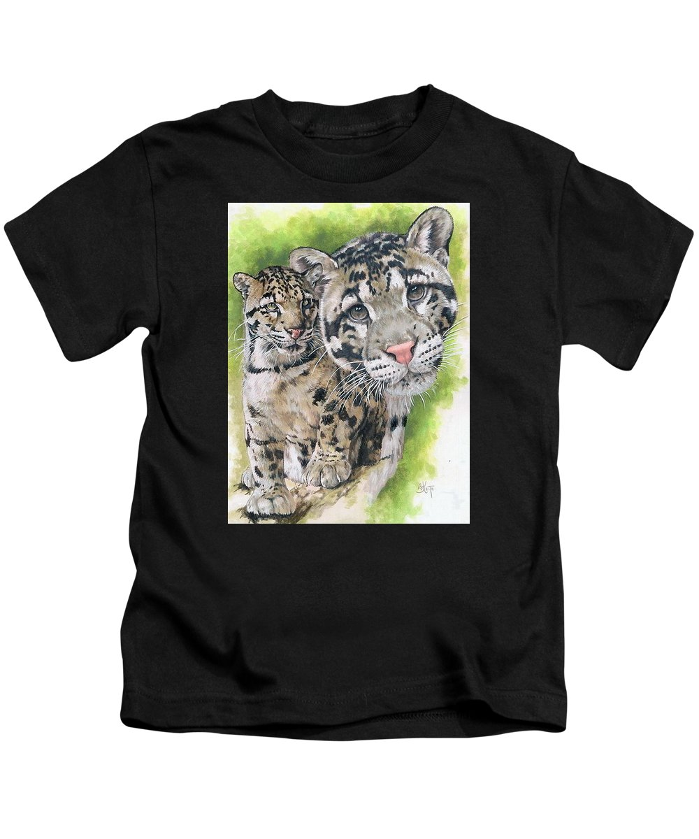 Clouded Leopard Kids T-Shirt featuring the mixed media Sovereignty by Barbara Keith