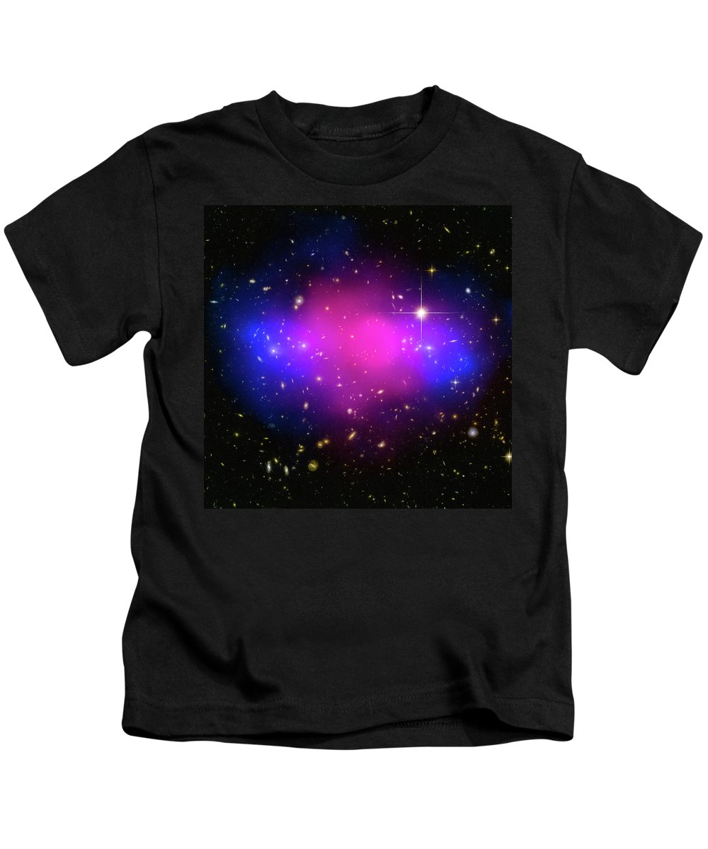 Purple Kids T-Shirt featuring the photograph Space Image Galaxy Cluster Purple Blue Black by Matthias Hauser