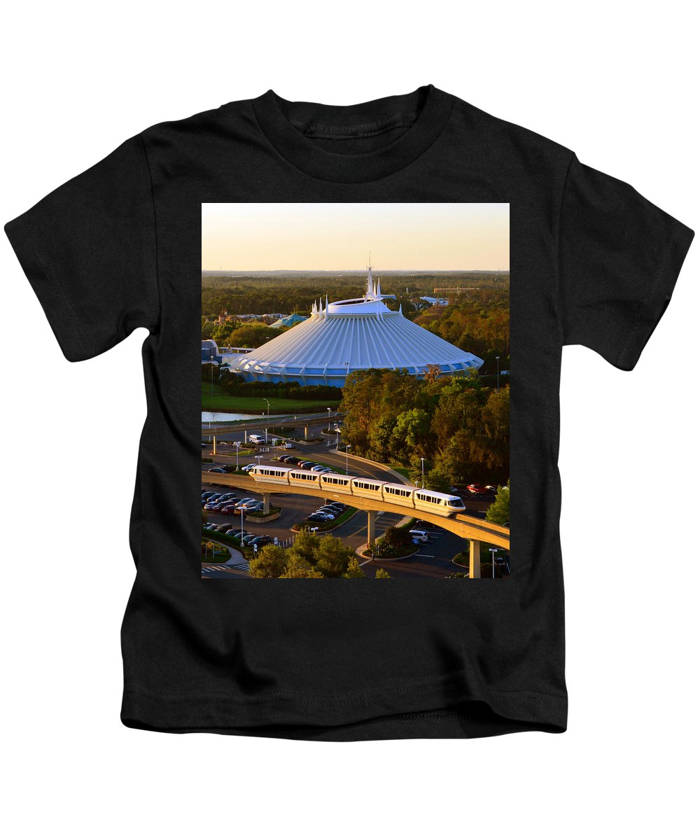 Space Mountain Rollercoaster Kids T-Shirt featuring the photograph Space Mountain And Monorail Peach by David Lee Thompson