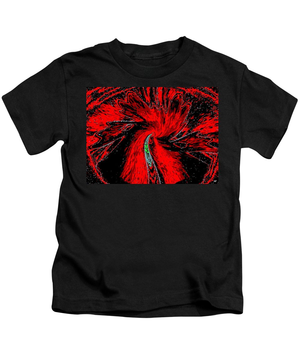 Abstract Kids T-Shirt featuring the digital art Space Poppy by Will Borden