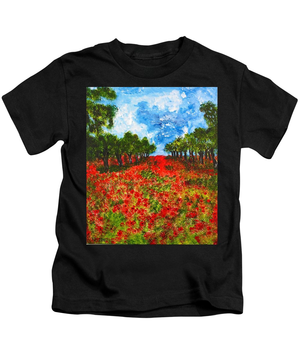 Landscape Kids T-Shirt featuring the painting Spanish Poppies by Valerie Ornstein