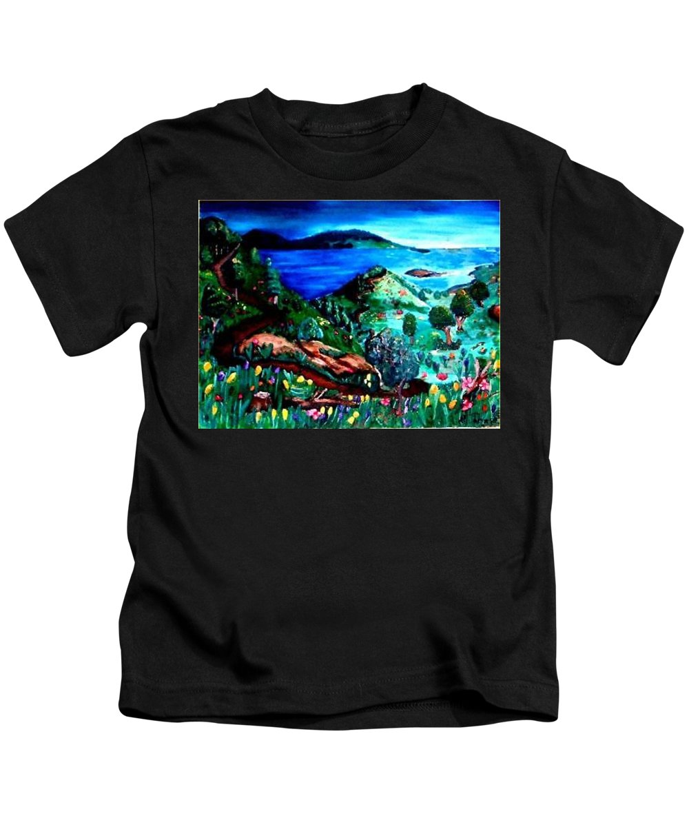 Landscape Kids T-Shirt featuring the painting Special Land by Andrew Johnson