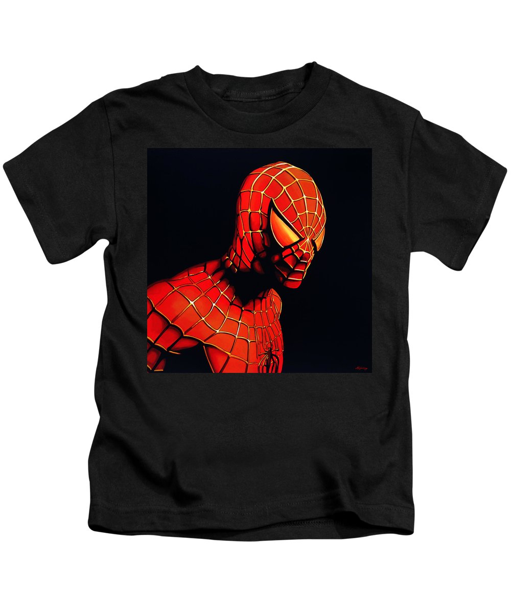 Spiderman Kids T-Shirt featuring the painting Spiderman by Paul Meijering