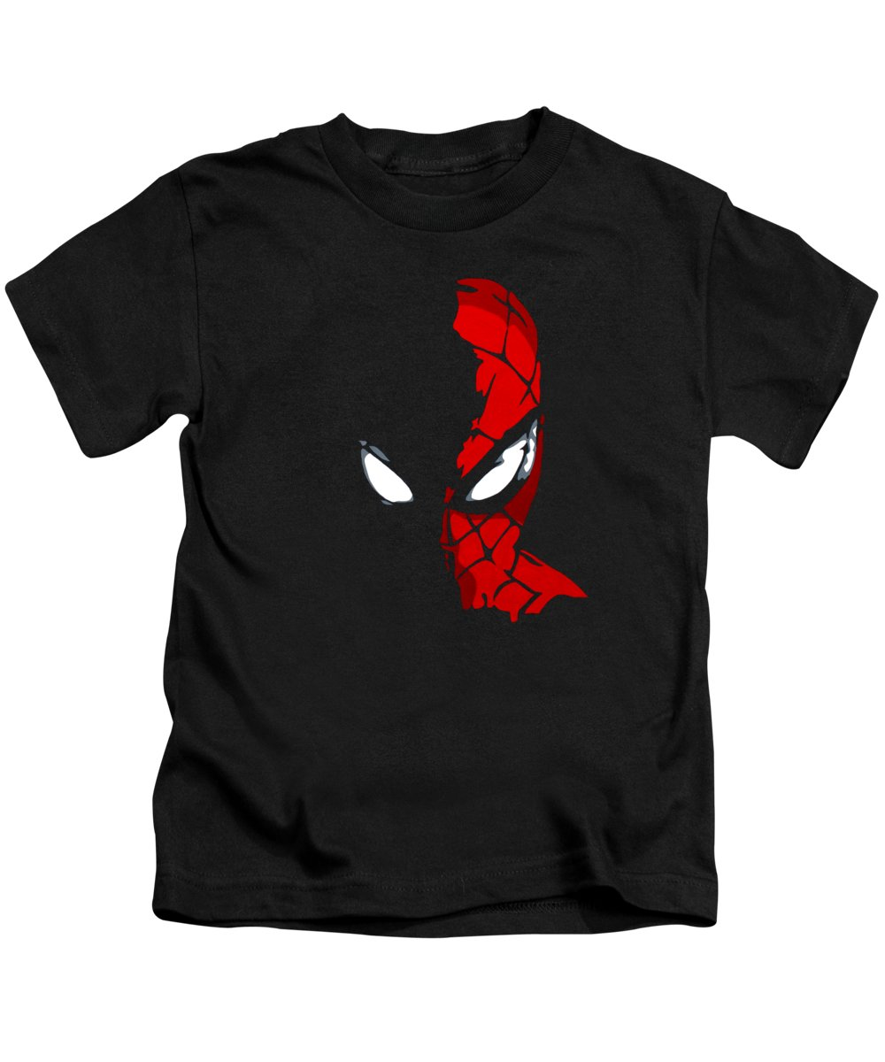 Spiderman Spider-man Peter Parker Superhero Contemporary Pop Art Portrait Kids T-Shirt featuring the painting Spidey In The Shadows by Ian King