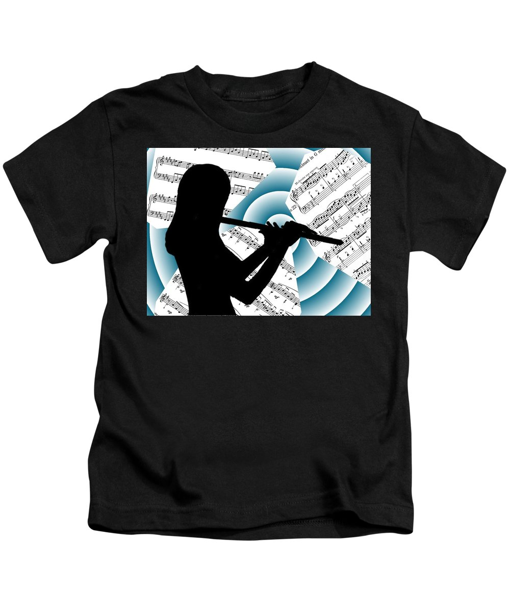 Music Kids T-Shirt featuring the digital art Spiral Music by Jennie Richards