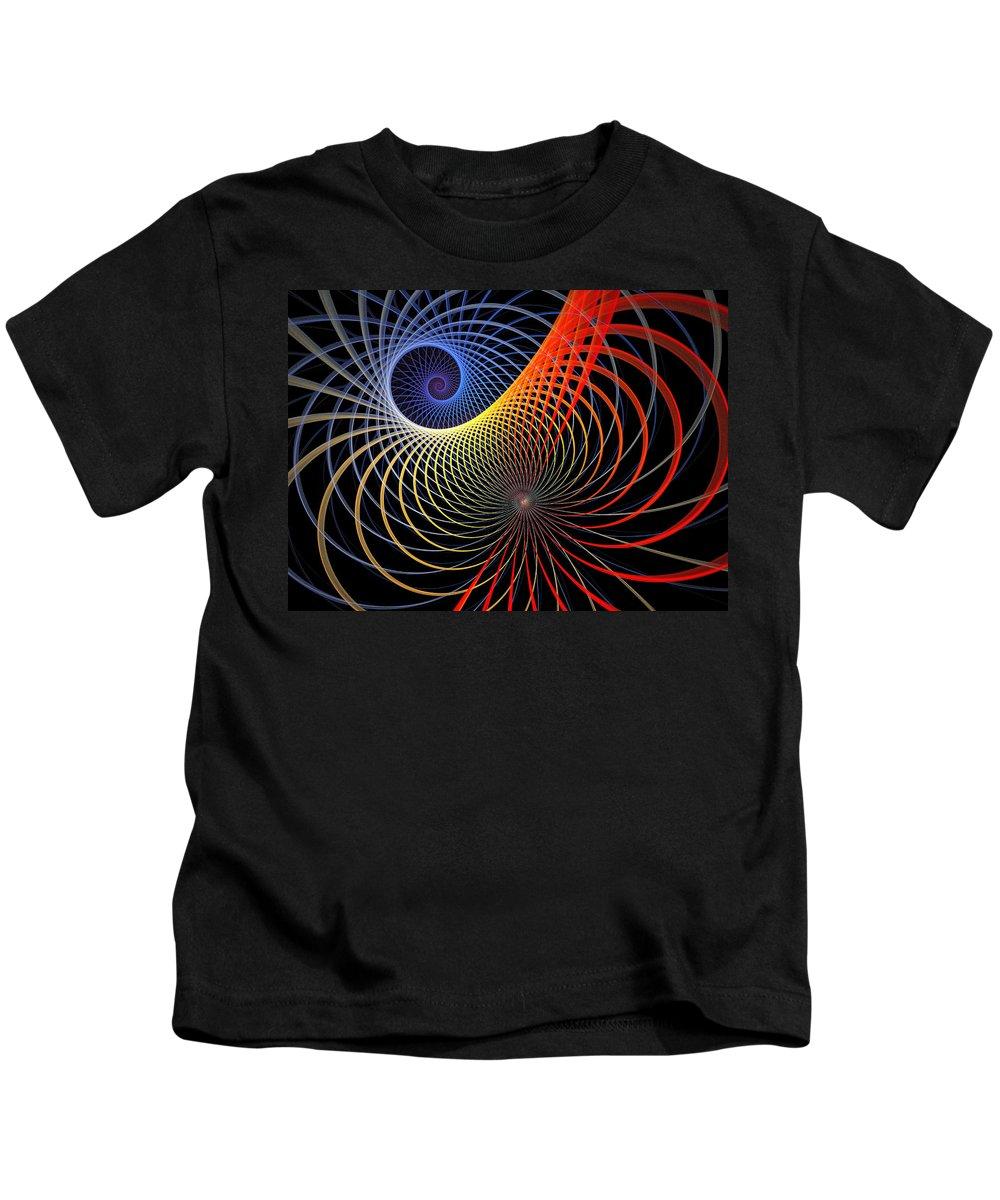 Digital Art Kids T-Shirt featuring the digital art Spirograph by Amanda Moore