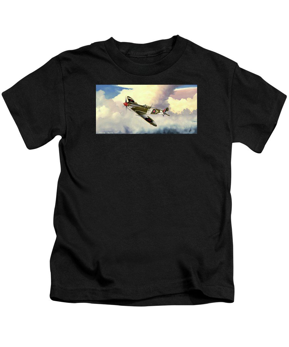 Military Kids T-Shirt featuring the painting Spitfire by Marc Stewart