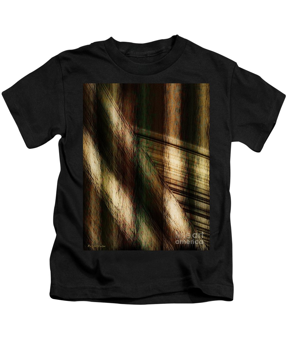 Plaid Kids T-Shirt featuring the painting Splinter And Fray by RC DeWinter