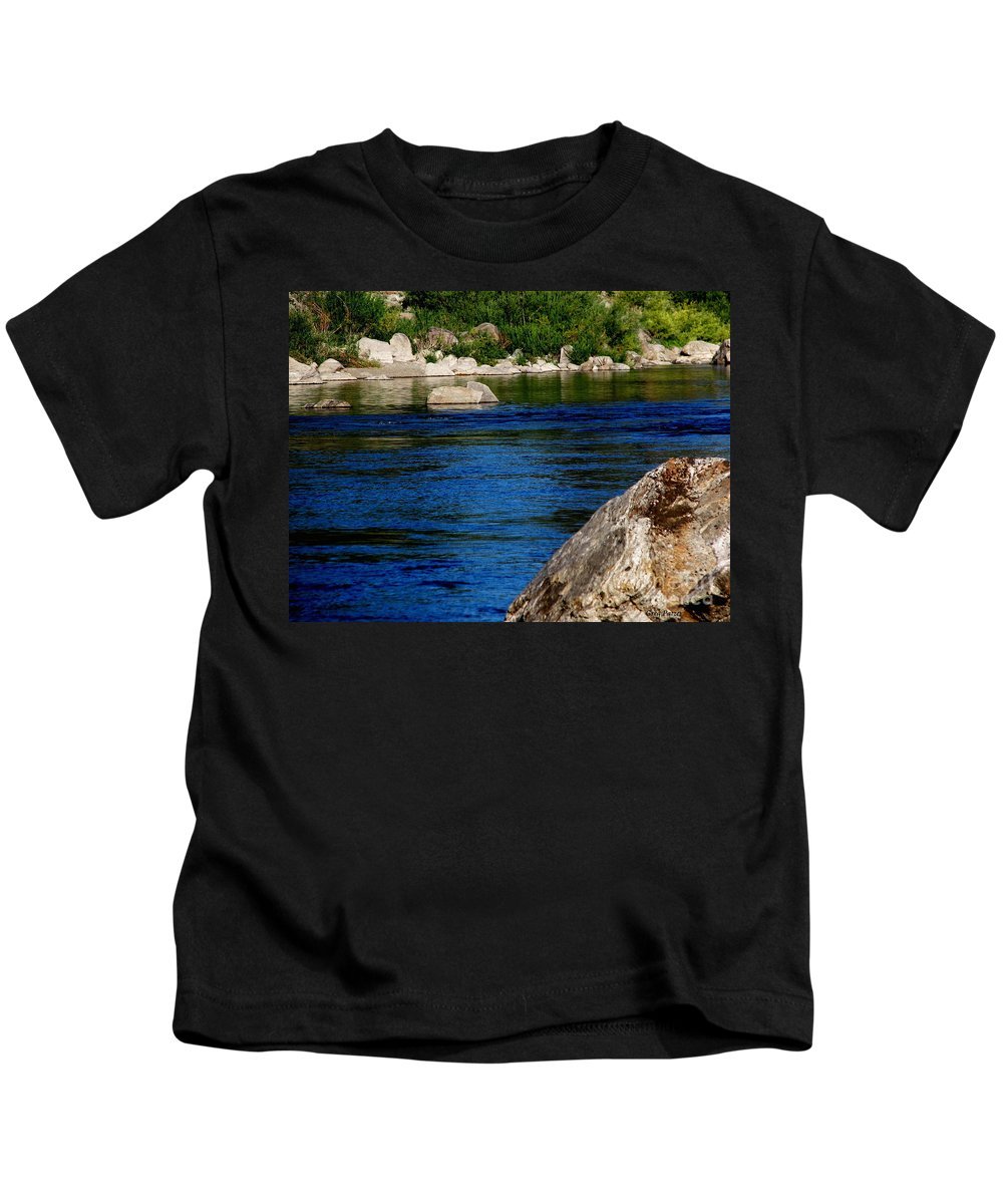 Patzer Kids T-Shirt featuring the photograph Spokane River by Greg Patzer