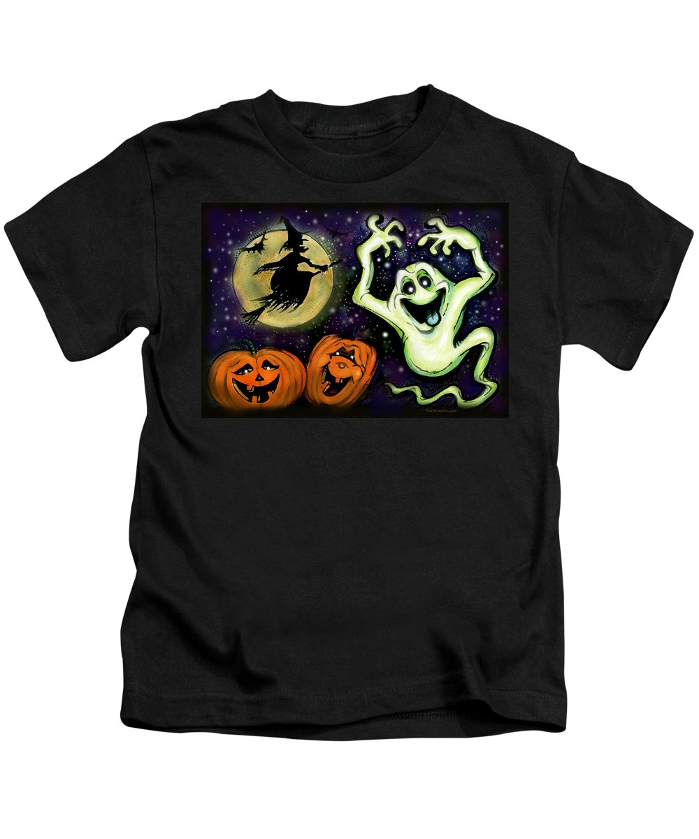 Halloween Kids T-Shirt featuring the painting Spooky by Kevin Middleton