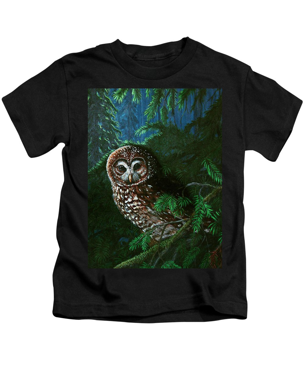 Owl Kids T-Shirt featuring the painting Spotted Owl In Ancient Forest by Nick Gustafson