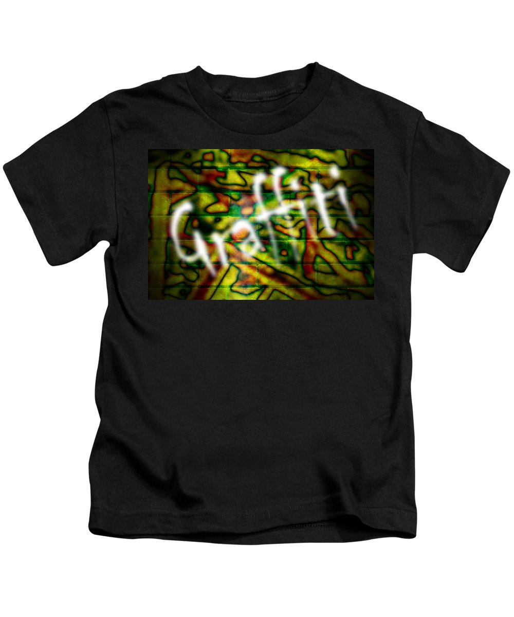 Graffiti Kids T-Shirt featuring the photograph Spray Painted Graffiti by Phill Petrovic