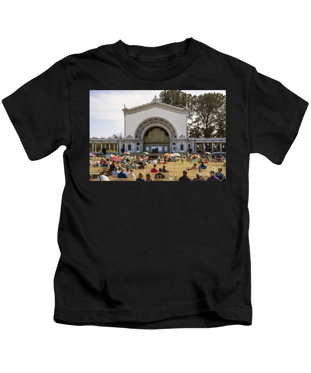 Spreckels Kids T-Shirt featuring the photograph Spreckels Organ Pavilion Concert - San Diego by Kenneth Lempert
