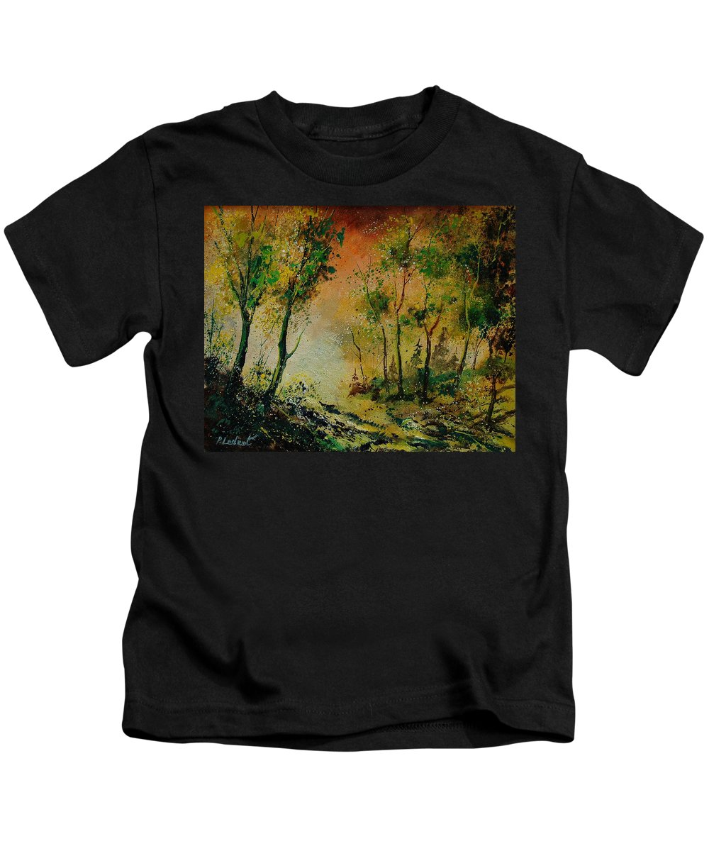Spring Kids T-Shirt featuring the painting Sprin In Wood 45 by Pol Ledent
