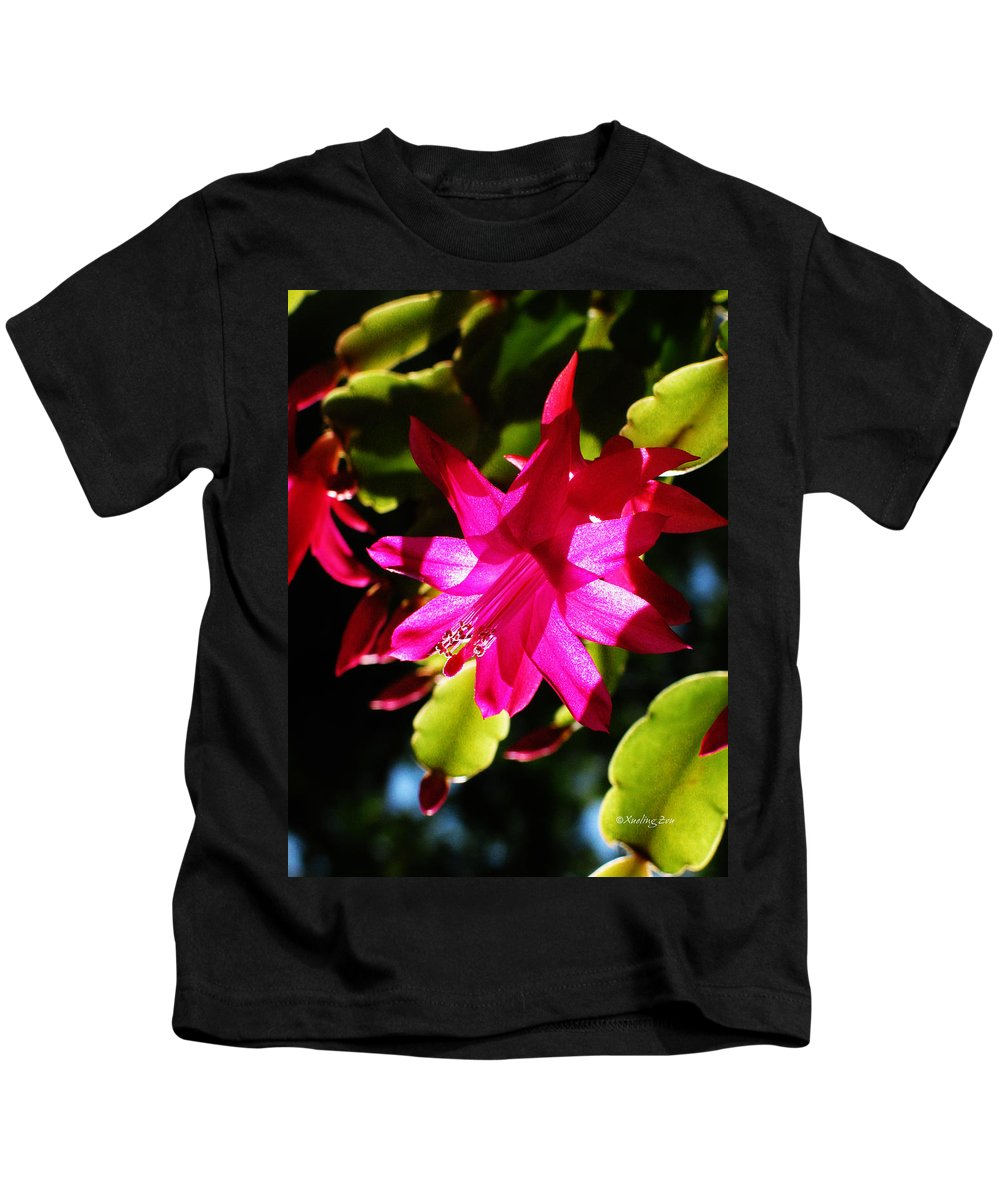 Cactaceae Kids T-Shirt featuring the photograph Spring Blossom 15 by Xueling Zou